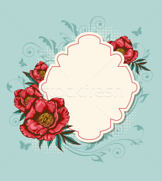 Label and red peony Stock photo © Artspace