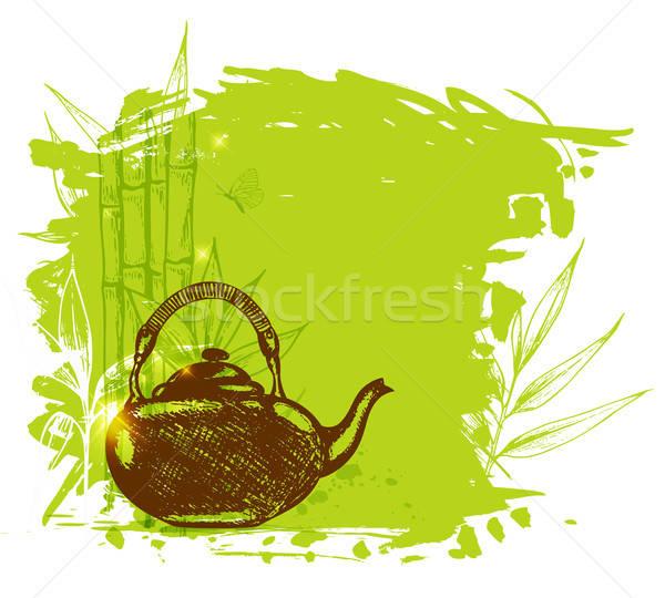 Vert bambou branche théière décoratif dessinés à la main Photo stock © Artspace