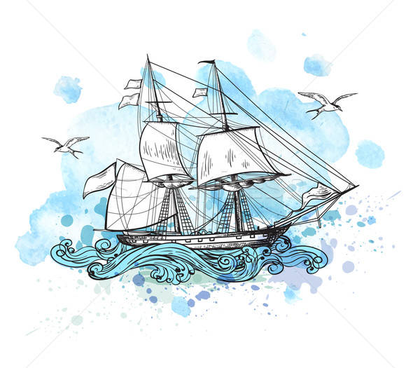 Background with sailing vessel Stock photo © Artspace