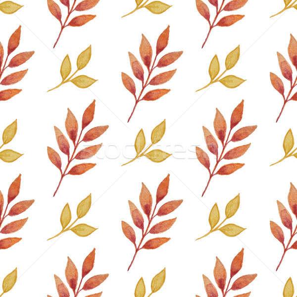 ősz minta levelek virágmintás vízfesték végtelen minta Stock fotó © Artspace