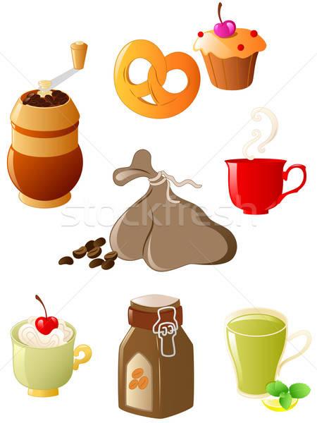 Stok fotoğraf: Ayarlamak · kahve · çay · vektör · parlak