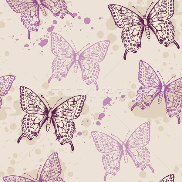 Violett Schmetterlinge Jahrgang Schmetterling Sommer Stock foto © Artspace