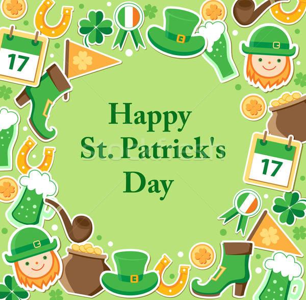Jour de St Patrick carte vert feuille fond calendrier Photo stock © Artspace