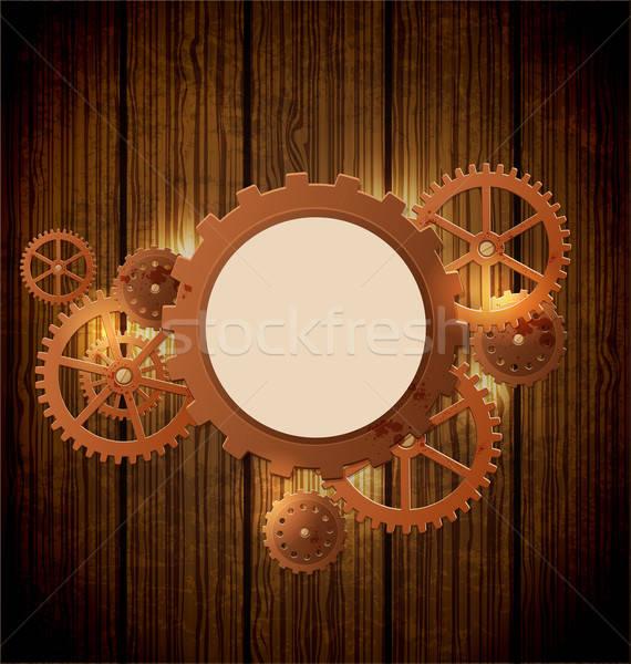 Bağbozumu steampunk soyut endüstriyel dişliler stil Stok fotoğraf © Artspace
