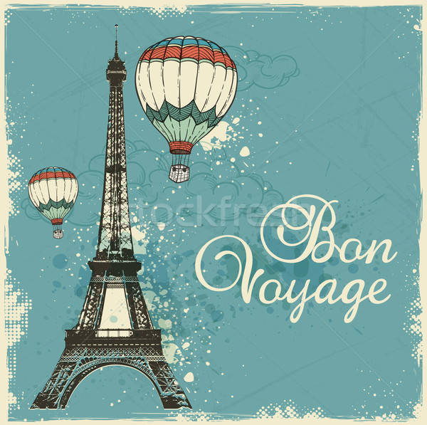 Vintage card with Eiffel Tower  Stock photo © Artspace