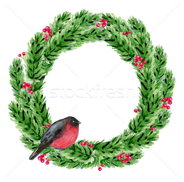 Watercolor Christmas wreath with bullfinch Stock photo © Artspace