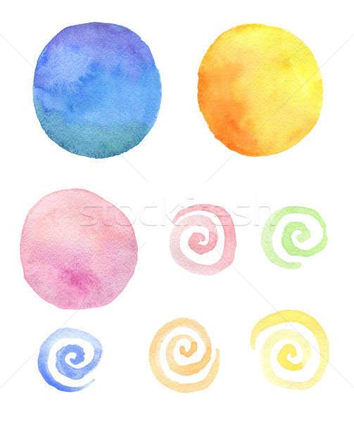 Set of round watercolor blots and swirls  Stock photo © Artspace