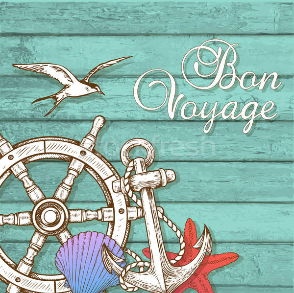 Travel background with hand wheel and anchor Stock photo © Artspace
