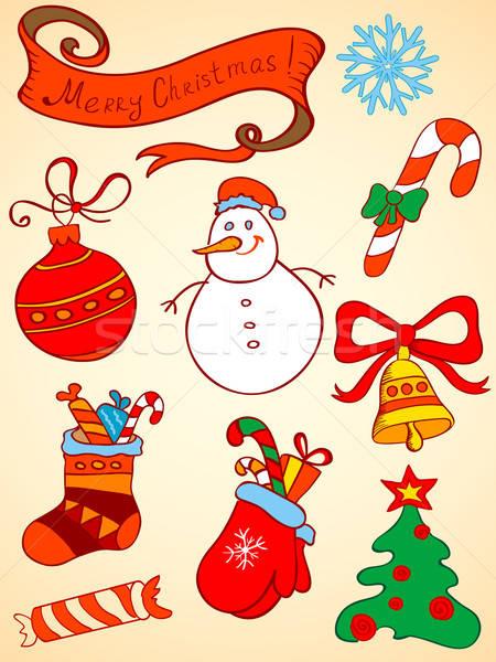Vektor karácsony elemek firka terv labda Stock fotó © Artspace