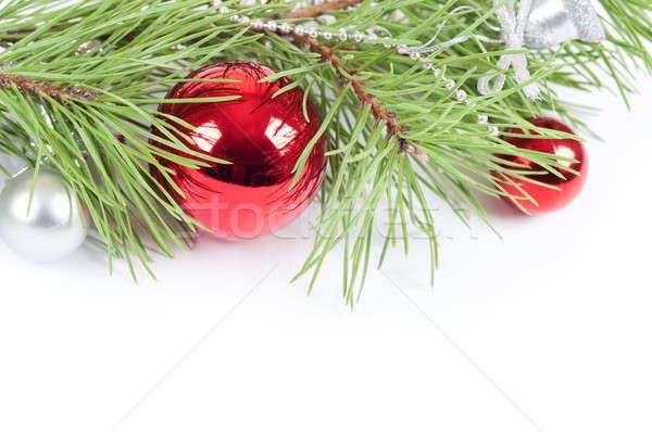 Karácsony piros dekoráció fenyőfa ág tél Stock fotó © Artspace