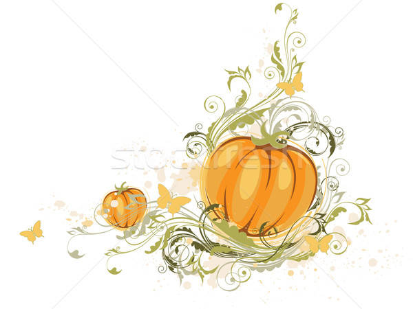 Halloween pumpkin and floral ornament Stock photo © Artspace