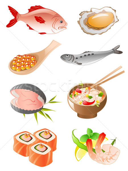 Conjunto frutos do mar vetor peixe ícones Foto stock © Artspace