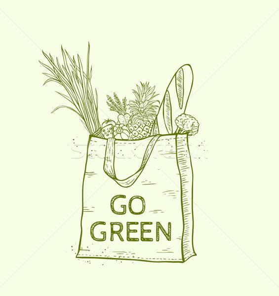 Tasche frische Lebensmittel wiederverwendbar Warenkorb Hand gezeichnet Stock foto © Artspace