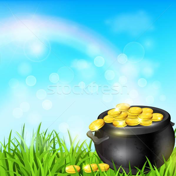 Edény arany zöld fű terv Szent Patrik napja pénz Stock fotó © Artspace