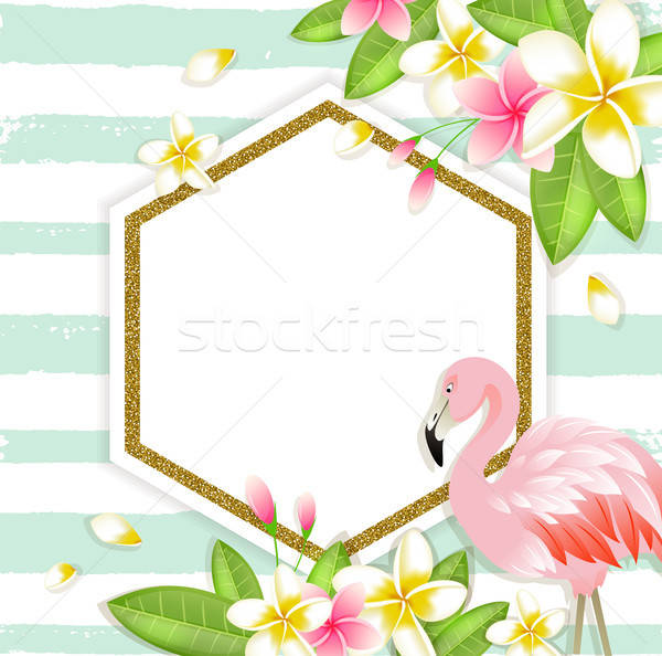 Floral tropical banner with flamingo Stock photo © Artspace