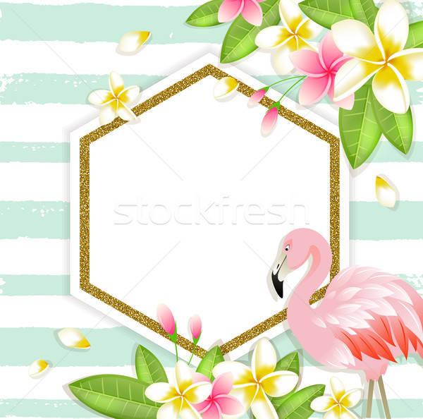 Floral tropical bandeira flamingo verão vetor Foto stock © Artspace