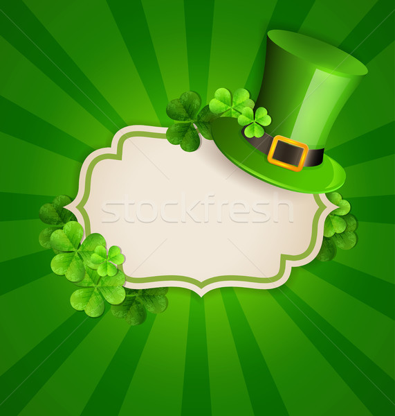 Green hat and clover leaves Stock photo © Artspace