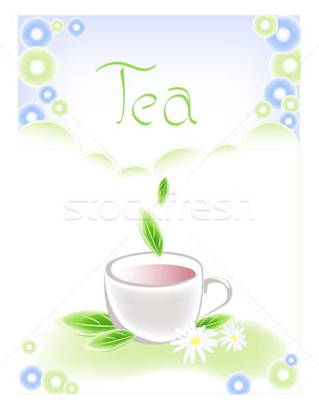 Stock fotó: Csésze · teáscsésze · tea · zöld · levelek · étel · kávé