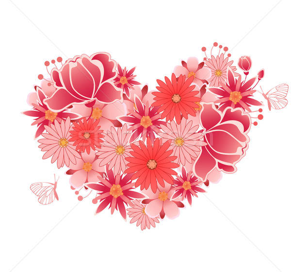 Heart of  pink and red flowers Stock photo © Artspace