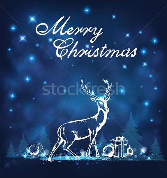 Cerfs cadeaux blanche vacances nature design Photo stock © Artspace