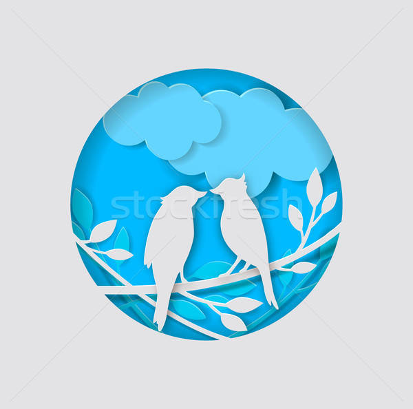 Paper birds and branch  Stock photo © Artspace