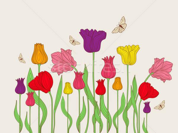 Floral tulipanes colorido mariposa naturaleza verano Foto stock © Artspace