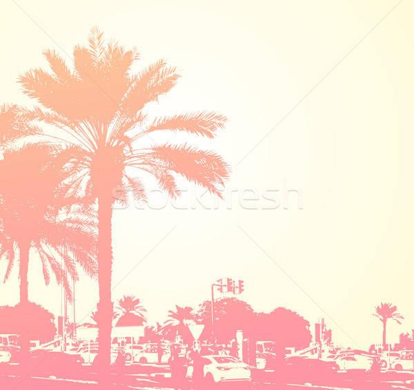 Reizen palmen retro gebouwen Dubai stad Stockfoto © Artspace
