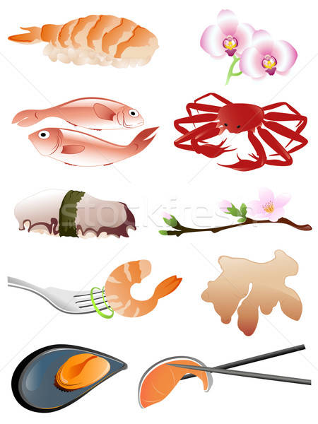seafood and other traditional japanese food icons Stock photo © Artspace