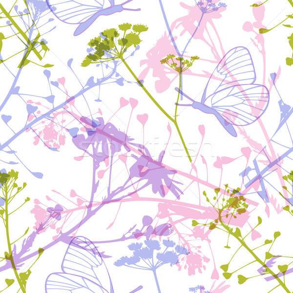 Végtelen minta pillangók vadvirágok absztrakt virágmintás levelek Stock fotó © Artspace