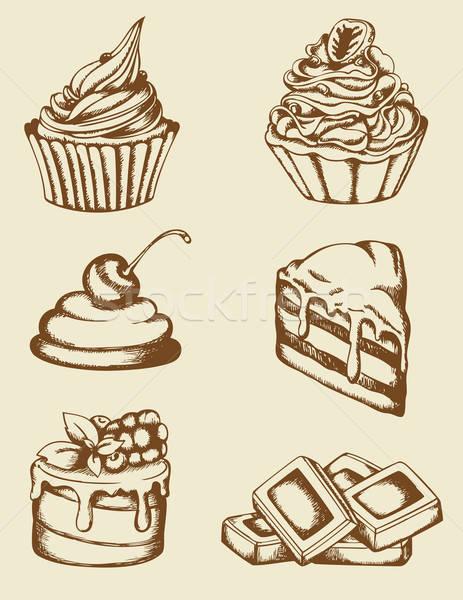 Klasszikus torták csokoládé szett kézzel rajzolt gyümölcs Stock fotó © Artspace