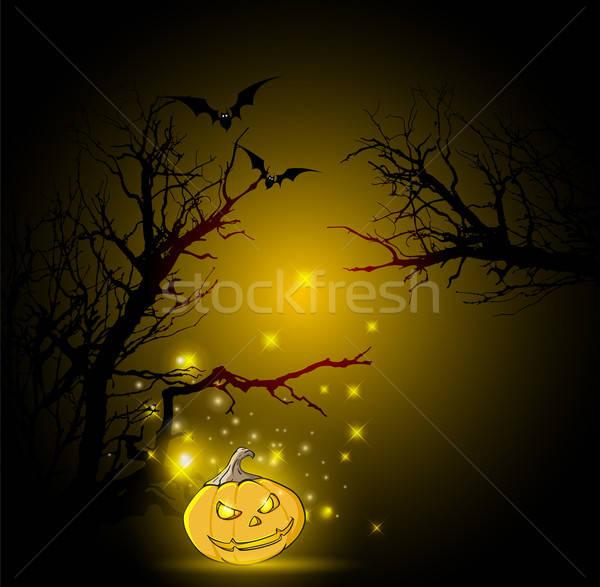 Halloween boom pompoen silhouet zwarte najaar Stockfoto © Artspace