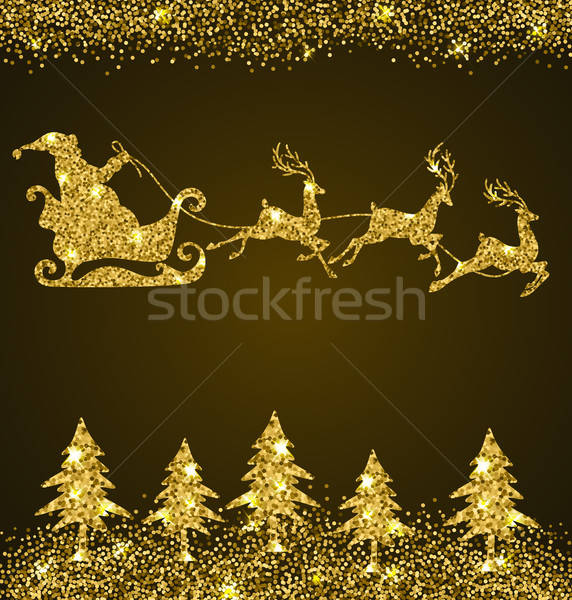 Golden glitter firs and Santa Claus Stock photo © Artspace