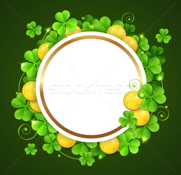 Bandeira trevo folhas dourado moedas verde Foto stock © Artspace
