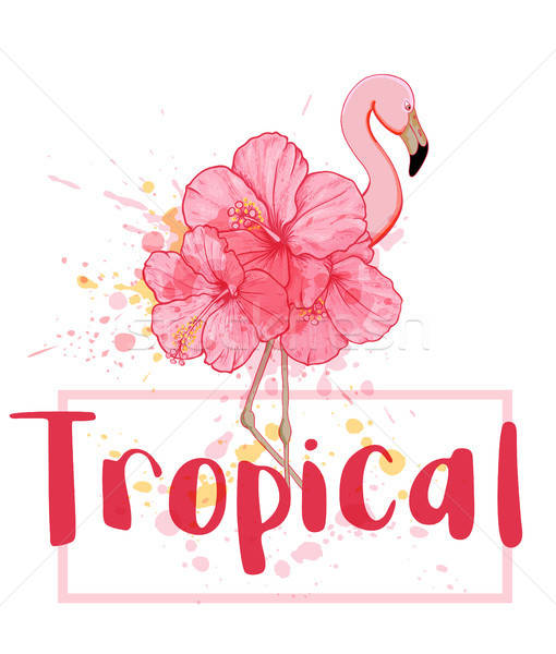 Vector pink floral flamingo Stock photo © Artspace