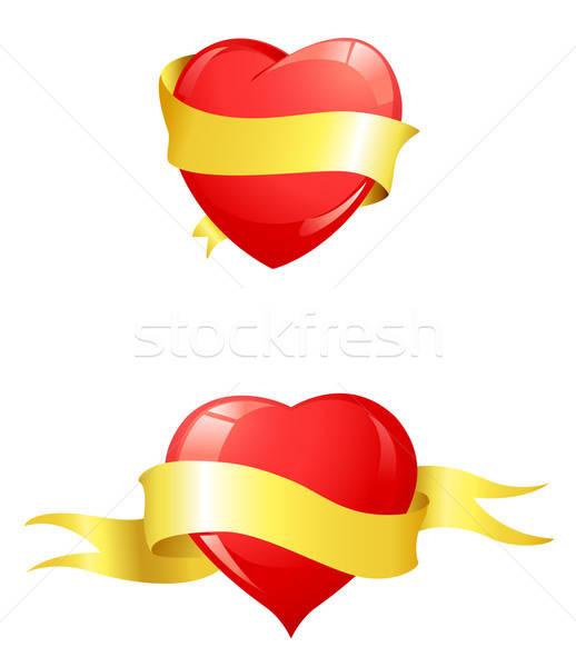 Parlak kırmızı kalpler sarı şerit sevgililer günü Stok fotoğraf © Artspace