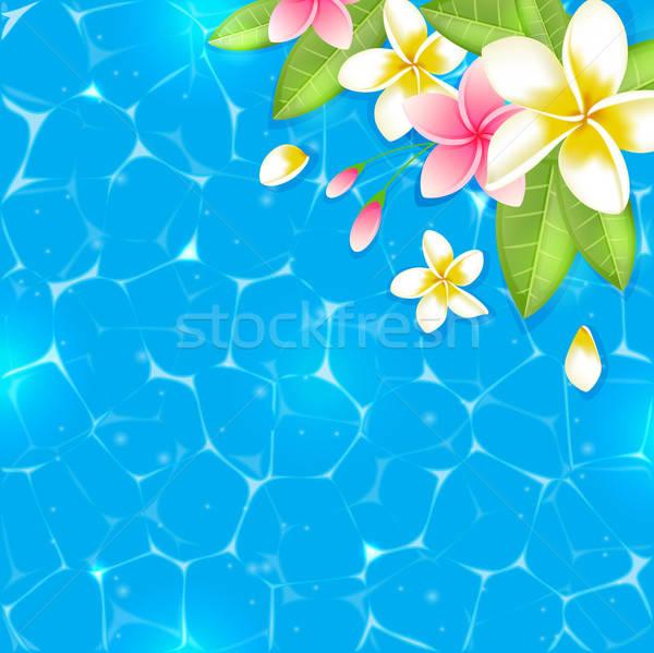 Kék trópusi nyár nyári virágok levelek víz Stock fotó © Artspace
