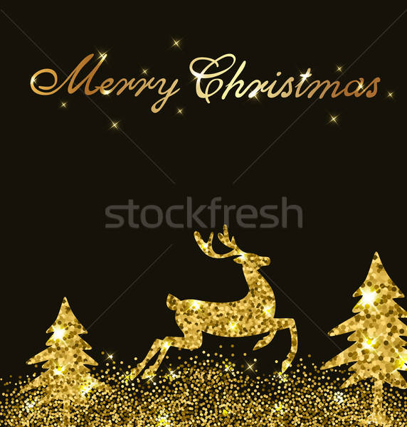 Kártya arany szarvas karácsony ragyogó csillámlás Stock fotó © Artspace