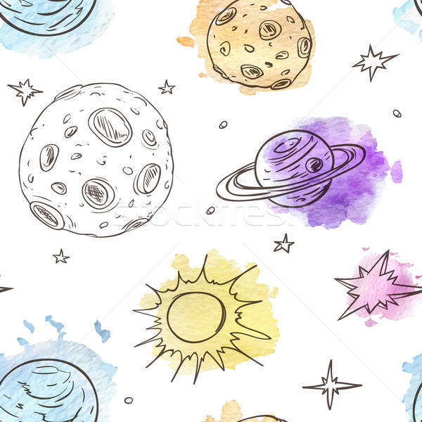 Pattern with planets and stars Stock photo © Artspace