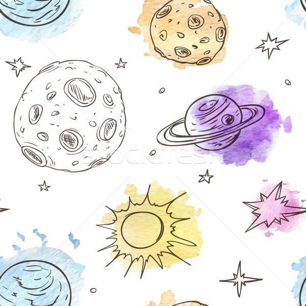 Muster Planeten Sternen Vektor Hand gezeichnet Stock foto © Artspace