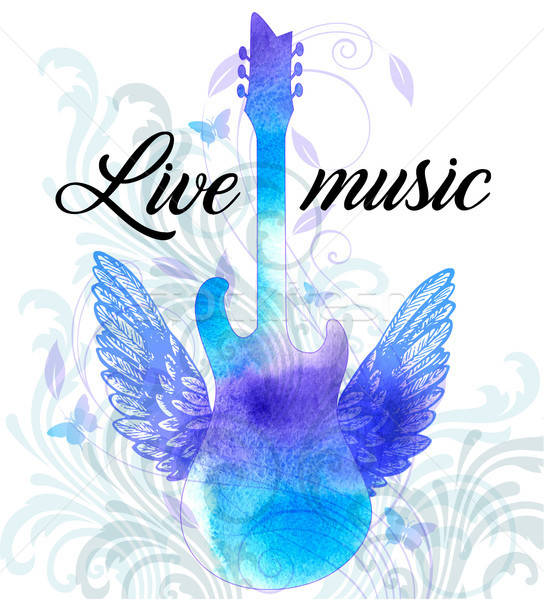Rock music poster with blue watercolor guitar Stock photo © Artspace