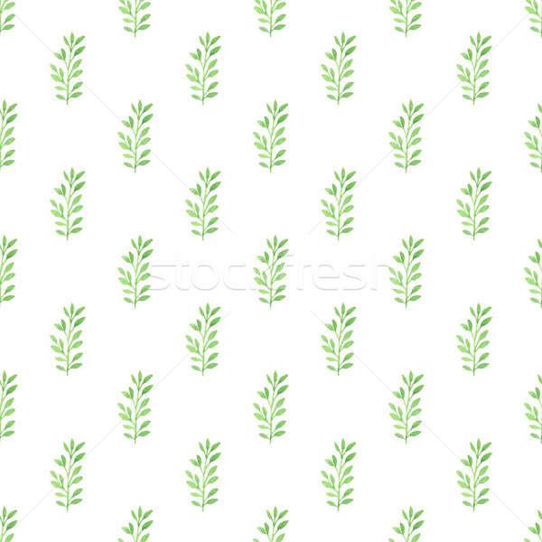 Virágmintás végtelen minta zöld levelek vízfesték fehér tavasz Stock fotó © Artspace