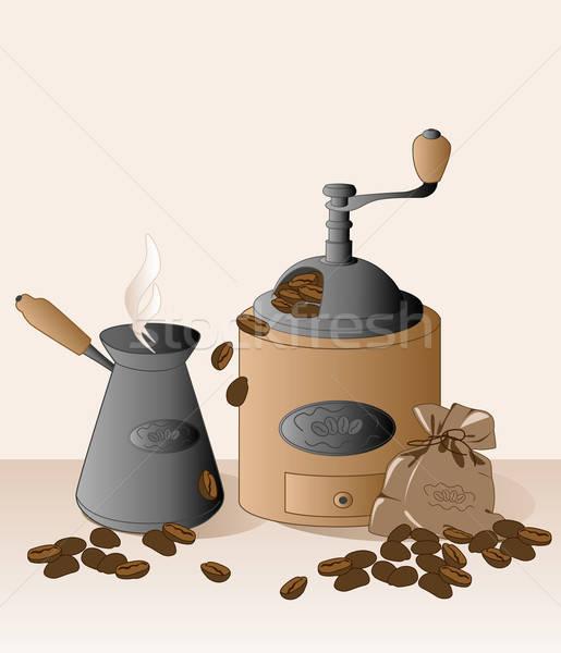 Kahve öğütücü kahve çekirdekleri çanta gıda restoran Stok fotoğraf © Artspace