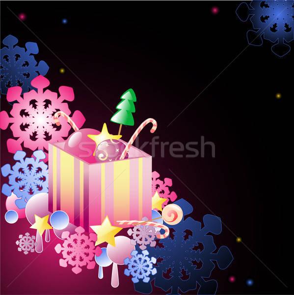 Noël cadeau bonbons flocons de neige design neige Photo stock © Artspace