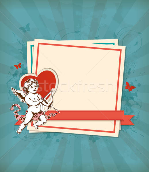 Green background with Cupid Stock photo © Artspace