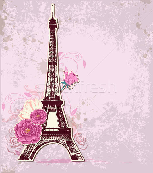 Roses and  Eiffel tower Stock photo © Artspace