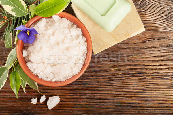 Aromatic bath salt in a clay cup Stock photo © Artspace