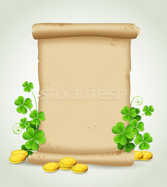 Scroll and clover leaves  Stock photo © Artspace