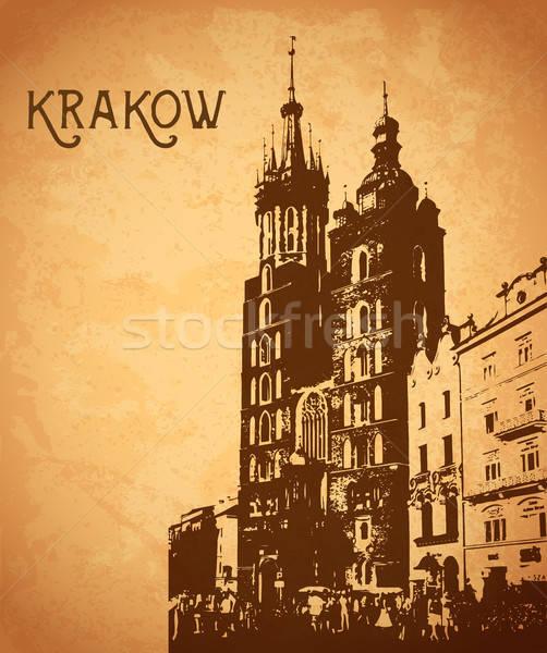 Klasszikus kártya Krakkó vektor ház város Stock fotó © Artspace