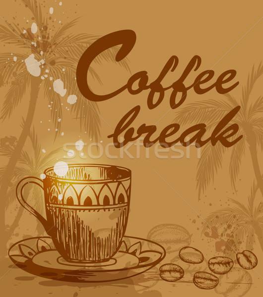 Kávészünet háttér csésze kávé kávé pálmafa Stock fotó © Artspace