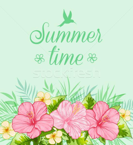 Tropicali estate foglie verdi rosa fiori fiore Foto d'archivio © Artspace